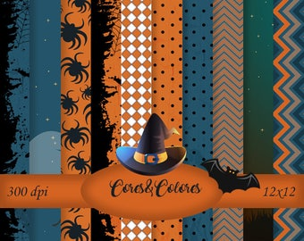 Halloween - 10 High resolution Printable digital papers and Pngs 12 x 12 / 300dpi New Collection