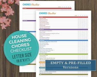 House Cleaning Checklist, Weekly Chores Chart, House Cleaning Schedule, Home Chores Printables, Cleaning Printable, Cleaning List, Letter