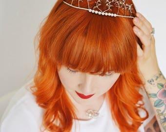 Vintage Tiara, silvered Bridal Crown and Corsage, sixties Headpiece, Groom Corsage