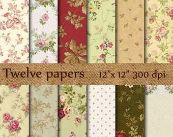 """SALE 50% OFF Shabby Chic Digital Papers: """"FLORAL Digital Papers"""" pink flowers , decoupage papers , vintage papers"""