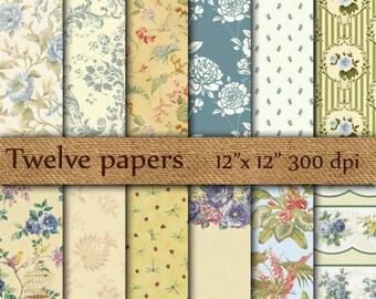 """40% OFF Floral digital papers: """"VINTAGE BLUE Flowers"""" light blue flowers , shabby chic floral , floral patterns , floral background"""