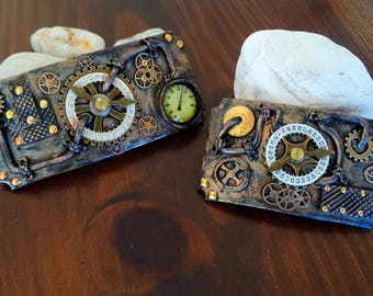 Handmade Steampunk Hair Clips. Steampunk Jewelry. Polymner Clay