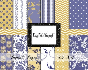 Digital Paper, 8.5 x 11 Digital Paper, Blue and Yellow Design Papers, Damask Floral Paper. No. P215
