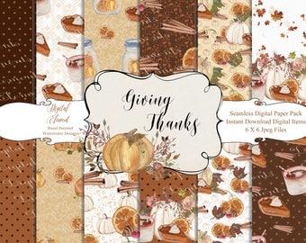 Thanksgiving Paper Pack, Pumpkin Digital Paper, Seamless Paper, Pumkin Pie  Digital Paper, Fall Stickers. No. P217