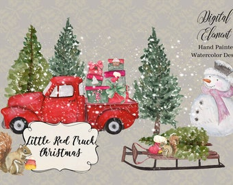 Christmas Watercolor Clip-art, Red Truck Clip-art, Christmas Red Truck, Snow, Sled, Snowman, Gift Boxes, Pine Trees. No. WC80