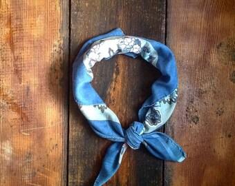 Vintage Blue Floral Square Scarf