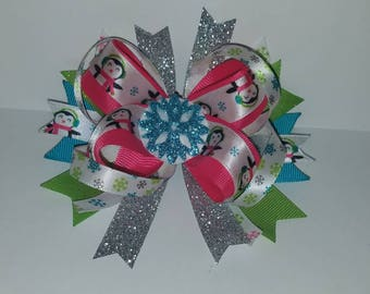 Snowflakes and Penguins Hairbow