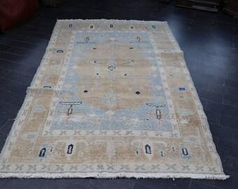Oushak Rug, Free Shipping Bohemian Rug, Pastel Color Rug, Rustic Rug, Handmade Turkish Rug, 4.9 x 7.7 Faded Rug, Anatolian Rug No 1141
