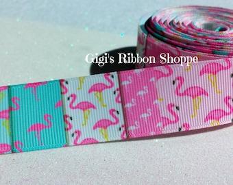 2 Yds Flamingo Panels Ribbon | 1 Inch Wide Grosgrain Ribbon