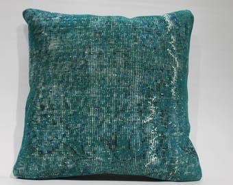 decorative pillow Turquoise carpet pillow case Overdyed Rug Pillow blue rug Pillow 20x20 Turkish Pillow Cover 50cmx50cm Cushion Cover  1405