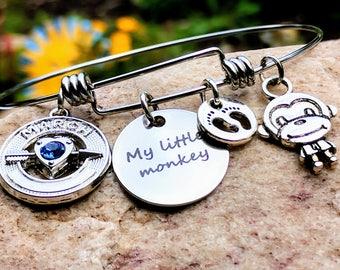 My little Monkey, Mom Charm Bracelet, Monkey Bangle, Monkey Bracelet, Monkey Jewelry, Monkey, Baby Shower Gift, Monkey Gifts, Mom Gifts