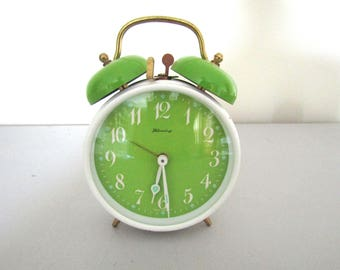 Blessing Alarm Clock from West Germany, Lime Green Vintage Clock