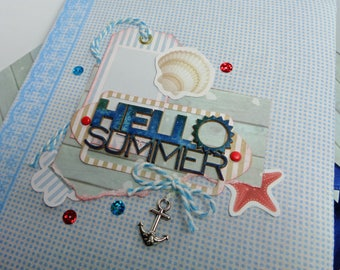 "Midori Notebook Diary ""Hello Summer"" Hand made"