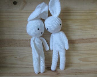 Bunny entirely hand-made in cotton thread crochet