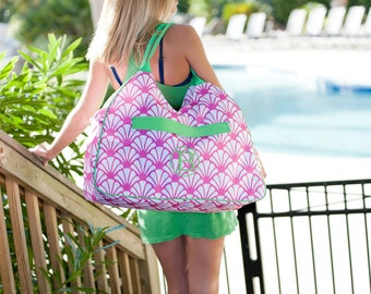 Shelly Beach Bag/ Pink Beach Bag/ Oversized Beach Bag/ Summer Bags/ Monogrammed Beach Bag/ Monogrammed tote/ Beach tote