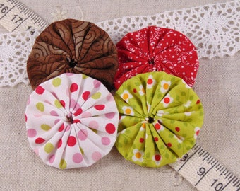 x 4 fabric flowers yoyos multicolor ref5