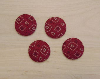 x 4 cabochons 20mm red hearts ref 15 C fabric