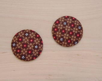 2 cabochons x 28mm reddish brown fabric ref A 51 fabric