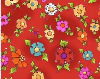 Happy Blooms Red - per yard - Loralie Harris Designs - Tossed Flowers on Red