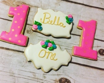 Personalized Floral Pink and Gold Birthday Decorated Cookies