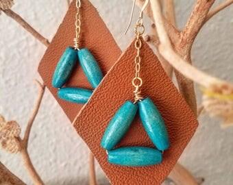 Brown Leather Earrings Diamond Shape Geometric 14k Gold Wood Beads