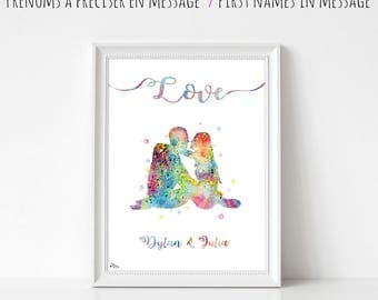 Love illustration, wedding gift, personalized, names, couple, anniversary meets watercolor painting, love