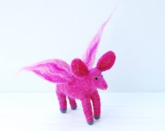 Pigs Do Fly - Needle Felted Flying Pig, Pink Felted Pig, Needle Felt Ornament, When Pigs Fly, If Pigs Fly, Felt Flying Pig, Pig With Wings