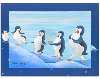 Wall Décor,Giclée prints on Canvas, Fine Art For Kids, Baby, Birthday, A Happy Penguin Nation  - Open Edition by Elana Mokady