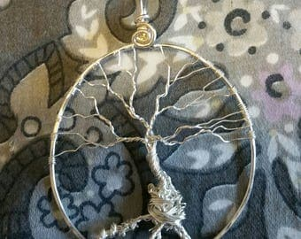 Handcrafted Fine and Sterling Silver Yggdrasil  Tree of Life  World Tree Pendant Necklace with Sterling Silver Herringbone Chain