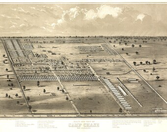 1860 Panoramic Map of Camp Chase Near Columbus Ohio