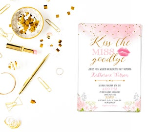 Kiss the miss goodbye pdf,Bachelorette Party Invitation, Breakfast at Tiffany's Invitation, Bridal Shower, Miss to Mrs, Bride to be