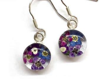 Small Circle Earring Real Flower Earrings Sterling Earrings Pressed Earrings Resin Earring Resin Flower Jewelry Resin Flower Earrings Gift
