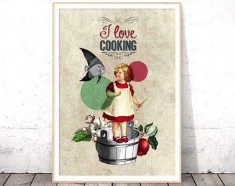 Cooking Art Print, Large Kitchen Poster, Country Wall Prints, Farmhouse Kitchen Art, Housewarming, Retro Kitchen Wall Art, Affiches Vintage