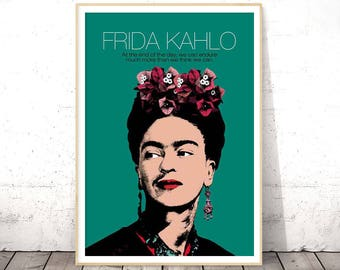 Frida Kahlo Poster, Celebrity Printables, Frida Kahlo Print, Frida Kahlo Wall Art, Frida Kahlo Custom Quote, Frida Kahlo Posters and Prints