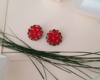 Red Earrings - 1940s Earrings - 1950s Earrings - Clip on Earrings - Clip Earrings - Non Pierced Earrings - Gift for Women - Unique Earrings