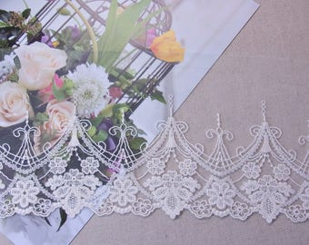 """Gorgeous Lovely Embroidered Tulle Lace Trim  Ivory 14cm(5.5"""") Wide 1Yd #2"""