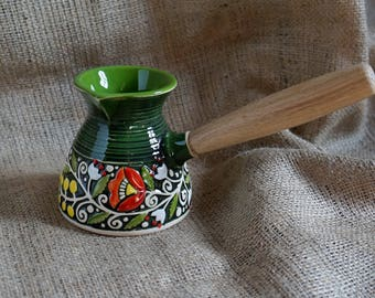 Christmas-gift-for-women-Sister-gift-idea-Turkish-coffee-pot-ceramic-Green-gift-for-daughter-Pottery-coffee-pot-Coffee-maker-Coffee-gifts