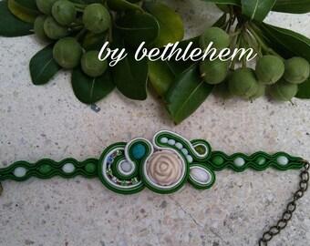 Soutache bracelet. Soitache green bracelet