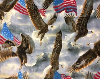 """Fleece Fabric Bald Eagle American USA Flag Eagle Fabric Patriotic Style AA 3037 60"""" Wide"""