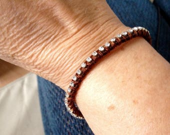 LEATHER STRAP AND CLASP WITH RHINESTONE
