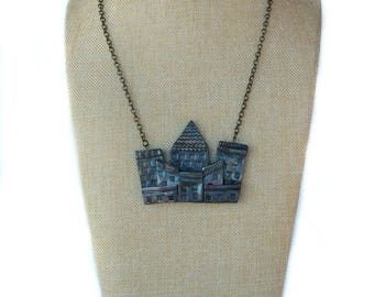 Cityscape Skyline Pendant/Polymer Clay/Handmade/Statement Necklace/Holographic/Holiday Gift/Women's Gift Ideas/Earrings/Jewelry Set