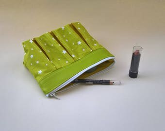 Cotton and faux green leather makeup case.