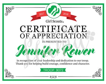 Scout leader etsy for Girl scout award certificate templates