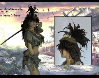 Warrior HEADDRESS -FEATHER Headdress - BONE Headdress- LEAThER Headdress Fur TRIBaL WARRiOR Apocalyptic Headdress by WastelandWearable