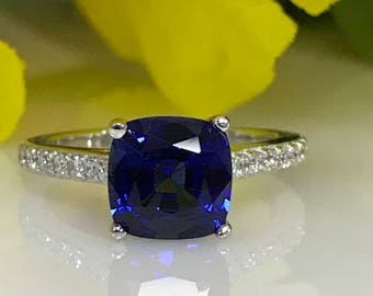 Blue Sapphire Cushion Cut and Diamond  Engagement Anniversary Promise Ring In 14k White Gold #5164