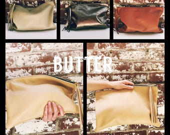 NK- Butter Leather Clutch. Large Leather  Makeup Pouch. Soft cow Leather Bag with long tassel- Large Cluth