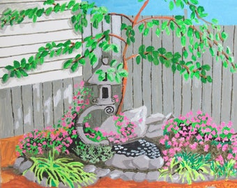 """Backyard Garden - 12"""" x 12"""" painting by Rory Doyle, an artist with a disability - autism"""