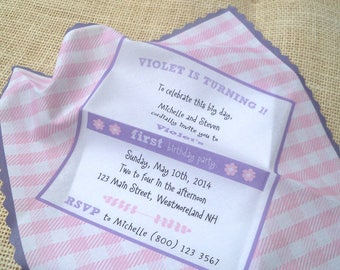 Gingham birthday invitation handkerchief, country picnic birthday, pink and lavender, backyard barbecue invitation, set of 25