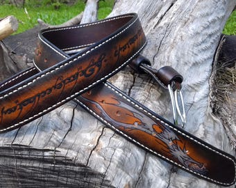 Leather belt, Lord of the rings, Fantasy, Dragon, Pyrography, Exclusive, Gift for men, woman, Custom, Cosplay, Vintage effect, Handcrafted