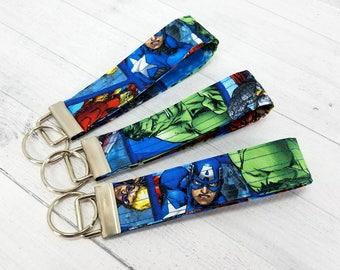 Key Wristlet - Key Fob - Made from Marvel Captain America Iron Man Hulk Black Widow fabric - Gift for Valentine, Dad, Mom, Pet Sitter,Friend